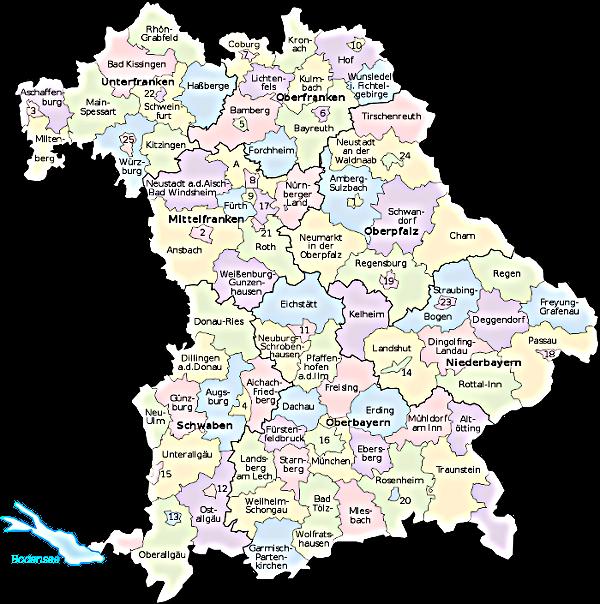 karte bayern regionen Karte Regionen Bayern | goudenelftal karte bayern regionen